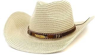 2019 Womens Hats Caps Womens Summer Straw Western Cowboy Hat Women Man Outdoor Beach Hat for Women Sunscreen Metal Leaf Decoration Sun Hat Travel Outdoor Vacation (Color : Khaki, Size : 56-58CM)