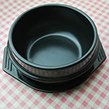 Cooker Pot Casserole Stone Bowl with Tray Ceramic Hot Pot for Bibimbap Soup Food Black 2.1