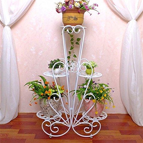 Supports de fleur de fer d'intérieur de mode blanche/support de présentoir de pot de fleur de plancher de style créatif pour le balcon de salon