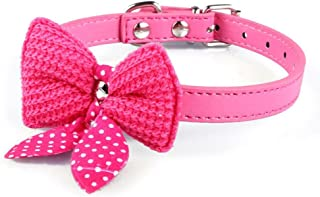 Mikey Store Knit Bowknot Adjustable PU Leather Dog Puppy Pet Collars Necklace