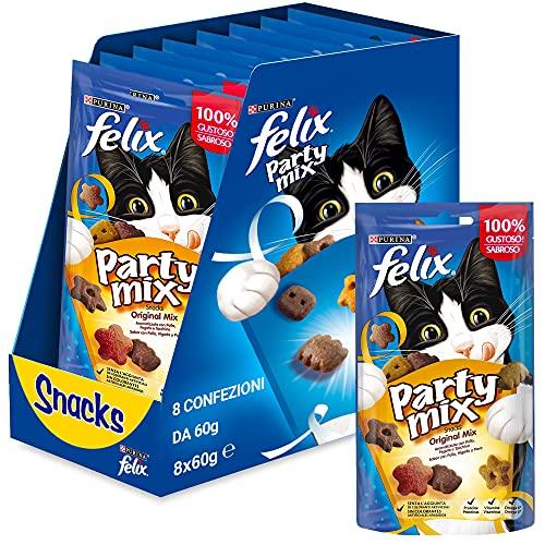Purina Felix Party Mix Original Snacks, golosinas y chuches para gato 8 x 60 g 🔥