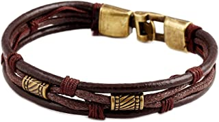Base Metal Bracelet Bangle for Men Boy Retro Style Ethnic Design Multi-Layer Wristband