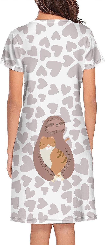 Nightgown Womens Sleepwear Cute Kitty Cat Long Sleeping Gown Nightwear