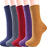 5 Pairs Womens Wool Socks Warm Winter Vintage Knit Boot Crew Socks (Solid Dark Color)