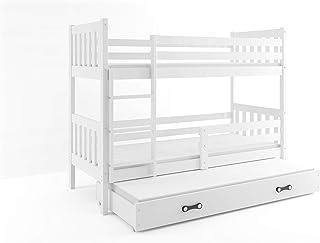 comprar comparacion BMS Group LITERA Infantil Triple (3 Camas) 190x80, CARINO, colchones incluidos! (Blanco)