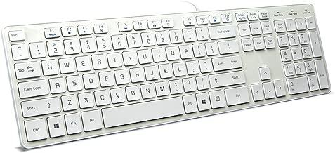 BFRIENDit Wired USB Keyboard , Comfortable Quiet Chocolate Keys , Durable Ultra-Slim Wired Computer Keyboard For PC , Windows 10 / 8 / 7 / Vista , KB1430 - White