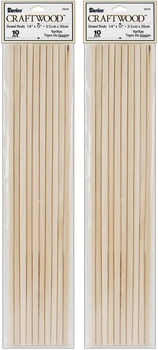 Darice 9162-03 Unfinished Natural Wood Craft Dowel Rod, 1/4-Inch (2 pack)