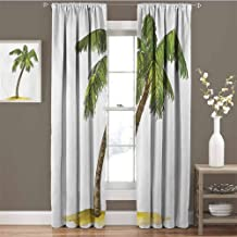 GUUVOR Palm Tree Room Darkened Heat Insulation Curtain Cartoon Palm Tree Image Tropical Plant and Sand Serenity Nature Foliage Print Living Room W54 x L63 Inch Green Brown