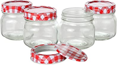 Lily's Home Classic Regular Mouth Glass Mason Jars with Checkered Lids and Bands, Use as Jelly or Storage Jars, Ideal for Homemade Sauces, Pickles, Candles, or Tea (8 oz. Capacity, Pack of 4)