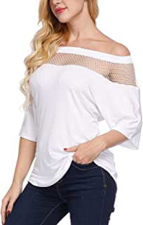 Women's Off Shoulder Blouses Half Sleeve Tops Shirts Casual Loose Basic Net T-Shirt