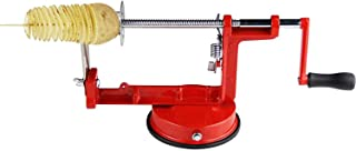 Professional Manual Stainless Steel Twisted Potato Apple Slicer Spiral French Fry Vegetable Cutter, Red
