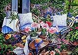Pintura por números DIY pintura al óleo decoración del hogar kit de pintura para principiantes lienzo de lino preimpreso (sin marco) -Flores en la mesa de café