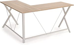 VASAGLE Bureau Informatique, Table d'Angle, Bureau Poste de Travail, Montage Simple, Gain de Place, Table Informatique pour Maison et Bureau, 145 x 130 x 76 cm Brou-de-Noix LWD70WN