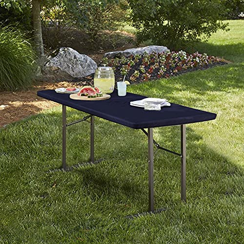 LUSHIVIDA Elastic Stretch Picnic Table Cover Waterproof Elastic Table Cover Vinyl Fitted Flannel Backing Tablecloth for 30' 96' for Outdoor Picnics/Travel/Holiday/Party/Folding Table Navy