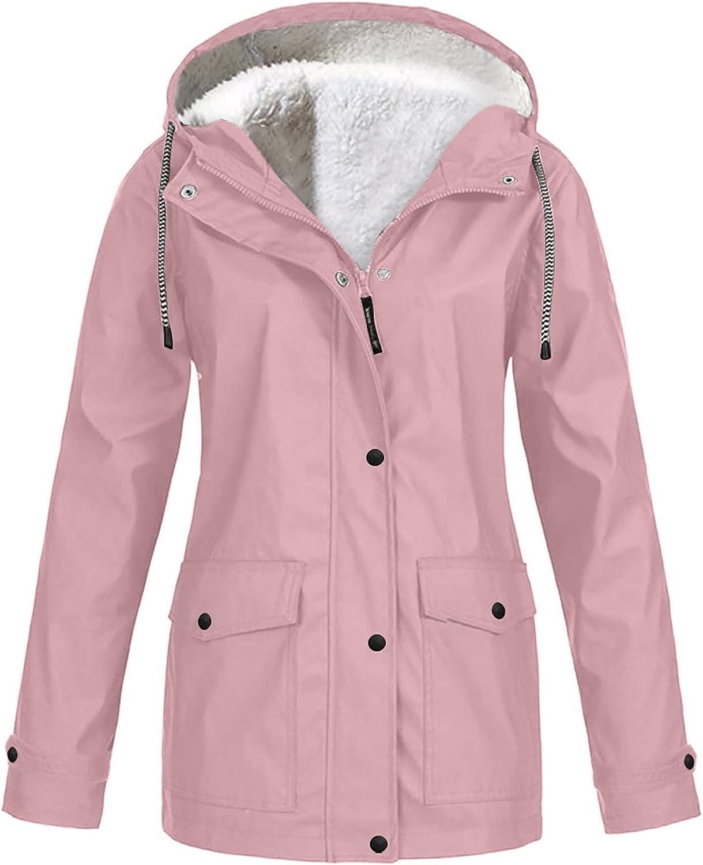 Women Long Coat Waterproof Hooded Thicken Fleece Lined Parkas Solid Rain Jacket Outdoor Raincoat Windproof Top