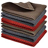 Yuhan Pretty Kitchen Towels Dish Cloths Set 100% Cotton Waffle Weave Super Absorbent Quick Drying Soft Kitchen Dish Towels 12x12 Inches 6 Pack(Red+Grey+Brown)