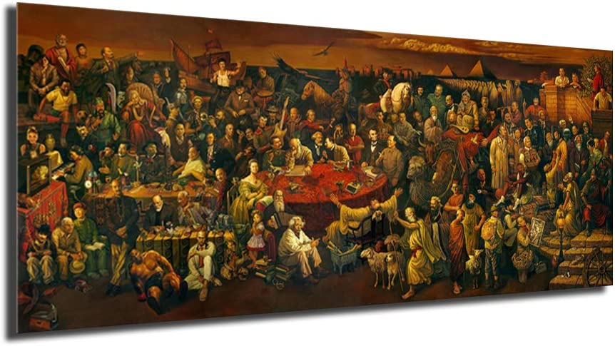 HHGaoArt Famous People Painting Year-end annual account Discussing Bargain sale Divine Comedy Wit The