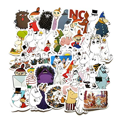 WOKAO Hand Account Cartoon Lovely Moomin Stickers Waterproof Laptop Motorcycle Luggage Fridge Phone Sticker 40Pcs