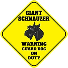 "Giant Schnauzer Warning Guard Dog On Duty Crossing Metal Aluminum Novelty Sign 12""X12"""