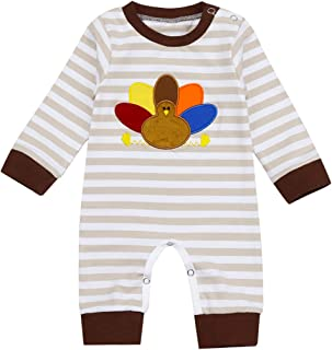 Thanksgiving Newborn Baby Girls Pumpkin Turkey Costumes Long Sleeve Romper Outfits Pajamas Jumpsuit