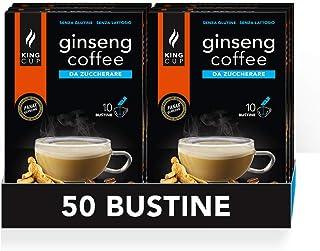 King Cup - 5 Paquets de 10 Sachets Solubles de Ginseng Sans Sucre, 50 Stick de 6 Gr pour Boisson Aromatisée Ginseng à Ajou...