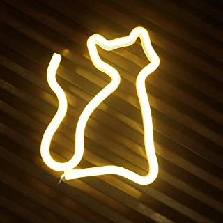 LED Neon Signs for Wall Decor,USB or Battery Operated,Night Lights Lamps Art Decor,Wall Decoration Table Lights,Decorative for Home Party Living Room (Cat-Warm White)