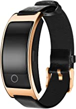 Smart Watch with Heart Rate, Blood Pressure, Blood Oxygen Monitor, Sleep Monitor, Calories Consumption, Modern Sport Bracelet with Soft Leather Strap (Rose Golden)
