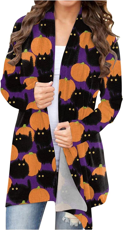 Gibobby Halloween Cardigan Sweaters for Women Pumpkin Printed Lightweight Open Front Cardigan Long Sleeved Sweatshirts