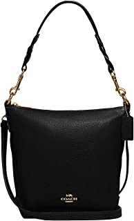 Pebbled Leather Mini Abby Duffel Shoulder Bag Black One Size