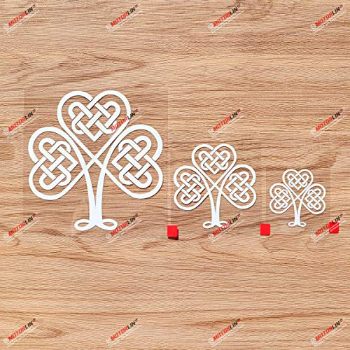 Shamrock Clover 3 Leaf Celtic Knot Ireland Irish Vinyl Decal Sticker - 3 Pack White, 2 Inches, 3 Inches, 5 Inches - No Background for Car Boat Laptop Cup Phone 05010