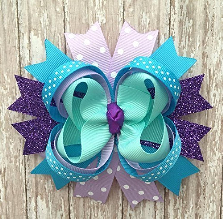 Purple Lavender and Turquoise Hair Bow, Handmade Large Lilac Aqua Hair Bow, Teal and Purple Hair Clip topqkz6589702