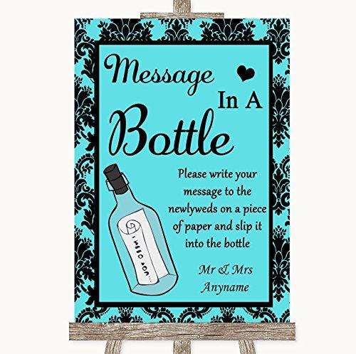 Tiffany blauwe damastboodschap in een fles gepersonaliseerd huwelijksbord Framed Oak Small