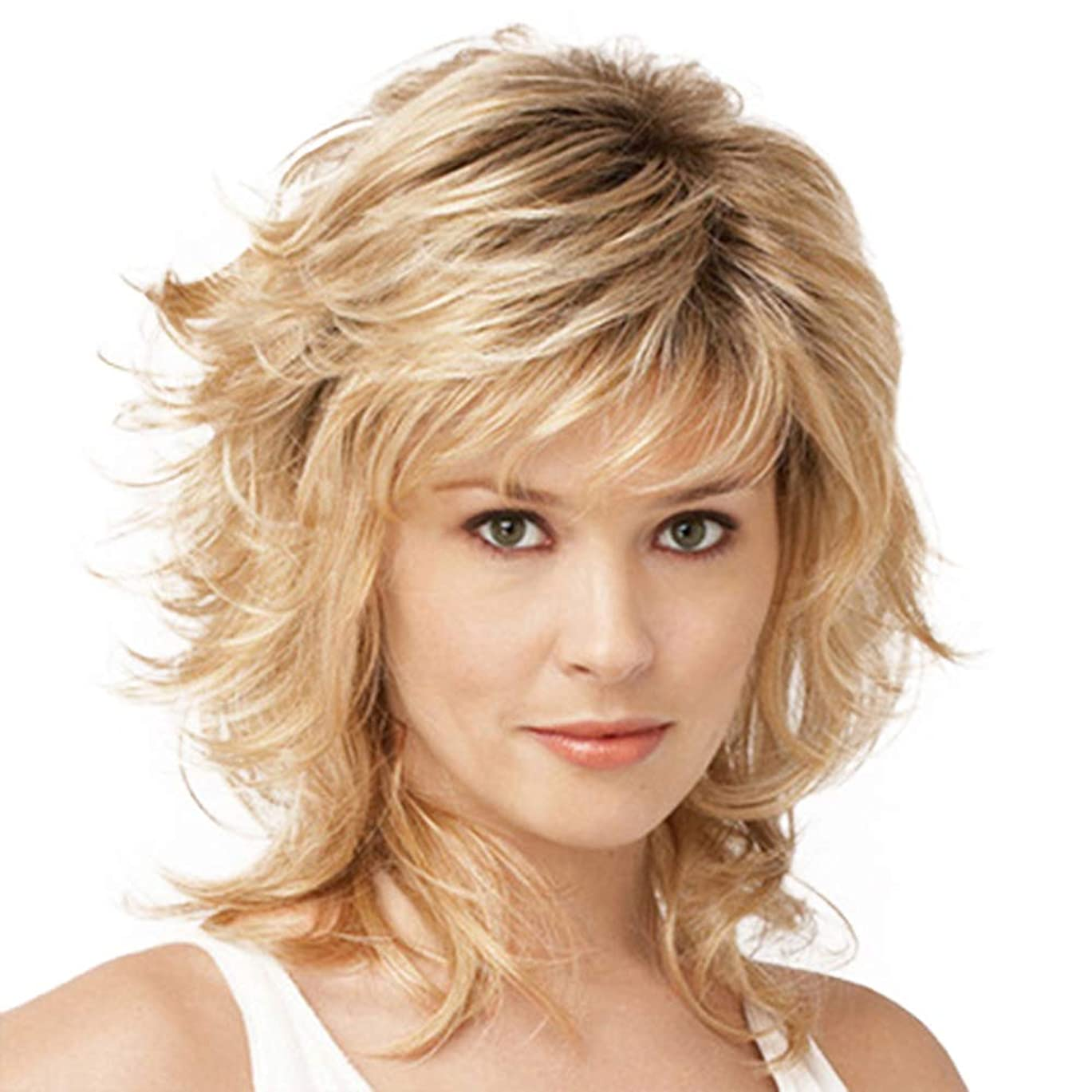 疾患短くする作者女性のかつら180%密度ふわふわロングカーリー波状の高品質耐熱合成として本物の人間の髪の毛のかつらゴールデン32 cm