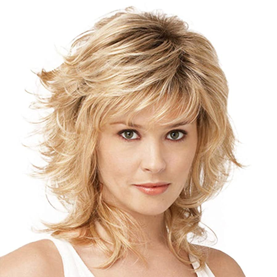 繁殖合意既婚女性のかつら180%密度ふわふわロングカーリー波状の高品質耐熱合成として本物の人間の髪の毛のかつらゴールデン32 cm