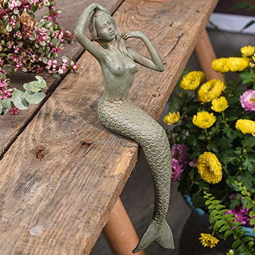 Sungmor Gartenfigur im Retro-Stil, 22 cm, robust, Meerjungfrau, Gartendekoration, hochwertiges Kunstharz, für Innen- und Außenbereich, Geschenkidee für Familie und Freunde