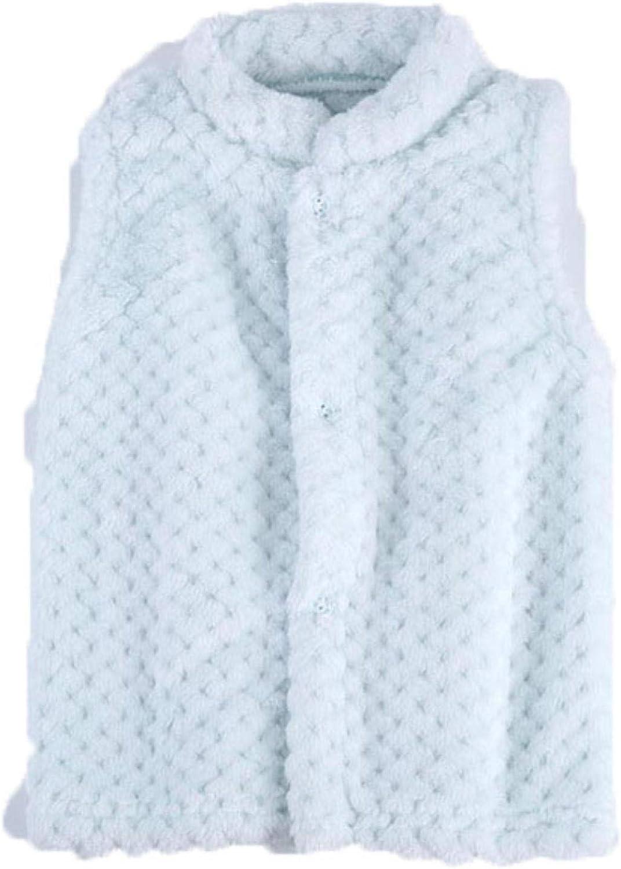 Children's Vest Waistcoat for Girls Soft Sleeveless Jacket Cotton Kids Outerwear,Sky Blue,6