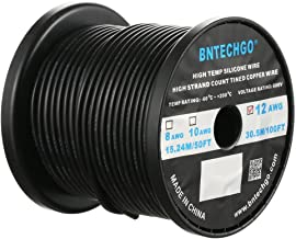 BNTECHGO 12 Gauge Silicone Wire Spool Black 100 feet Ultra Flexible High Temp 200 deg C 600V 12 AWG Silicone Rubber Wire 680 Strands of Tinned Copper Wire Stranded Wire for Model Battery Low Impedance