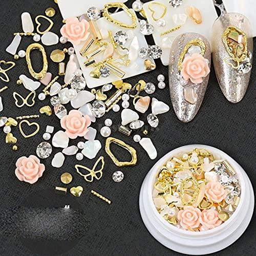 1 tarro mezcla varios pernos prisioneros de aleación joyería de cristal barra de oro piedras brillantes 3D rosa flor perla encanto manicura uñas arte decoraciones-J05