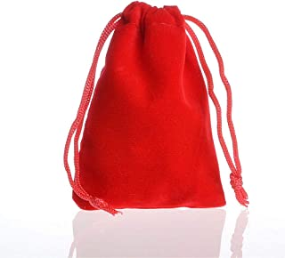 50 Pcs Reusable Velvet Cloth Produce with Drawstring Gift Bags, Sachet Bags for Wedding Party and DIY Craft Christmas,Red,15x20cm