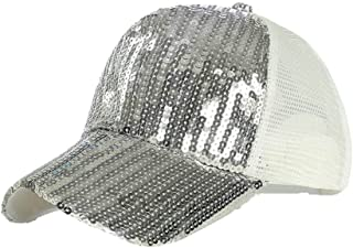 MKJNBH Sequins Baseball Cap Simple Mesh Solid Color Fashion Adjustable Visor Outdoor Casual Unisex Bend