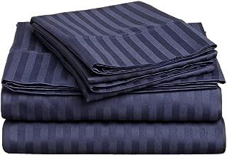 Superior 300 Thread Count 100% Premium Combed Cotton, 4-Piece Bed Sheet Set, Deep Pocket, Single Ply, Sateen Stripe, Queen - Navy Blue