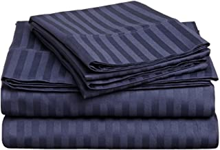 Superior 300 Thread Count 100% Premium Combed Cotton, 3-Piece Bed Sheet Set, Deep Pocket, Single Ply, Sateen Stripe, Twin - Navy Blue
