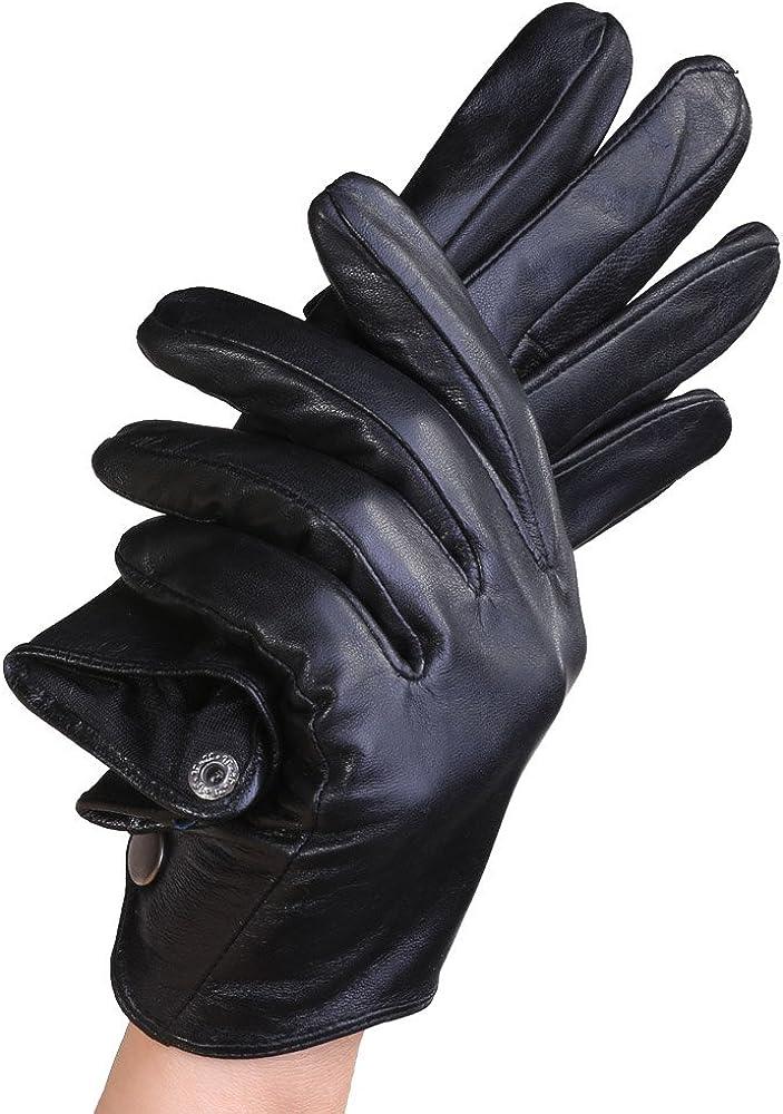 Mandy's Women's Fall Winter Nappa Leather Silk Lining Gloves