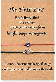 مجموعة أساور العين الشر اليدوية مع بطاقة سلسلة حمراء سوار Kabbalah حماية الحظ التعويذة للنساء الرجال الأسرة الأصدقاء