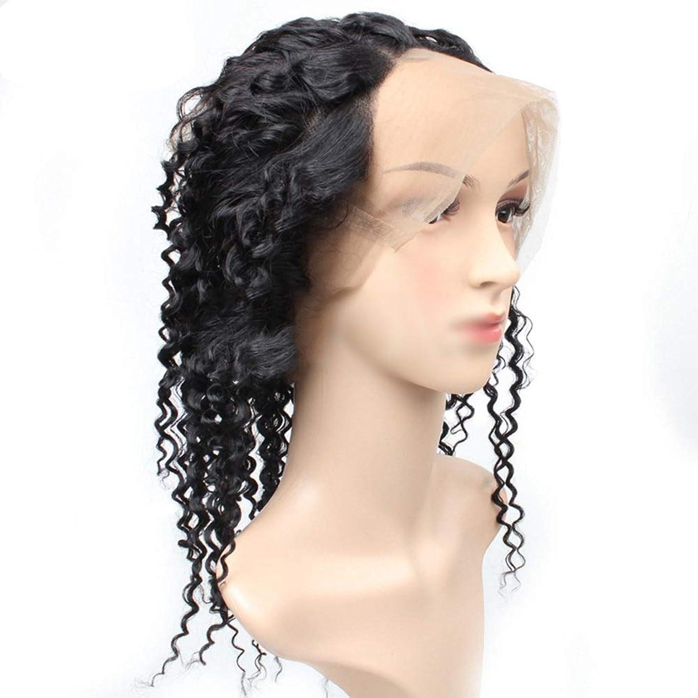 十億北欠員YESONEEP 360レース前頭閉鎖変態カーリーヘアーフルレース人毛ナチュラルカラー髪の織り横糸(8 '' - 22 ''、100g /個)合成髪レースかつらロールプレイングウィッグロング&ショート女性自然 (色 : 黒, サイズ : 16 inch)