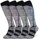 Abida 4 pares de calcetines de esquí para mujer calcetines térmicos para esquiar en la nieve calcetines deportivos de lana cálida de alto rendimiento para exteriores para esquiar senderismo snowboard
