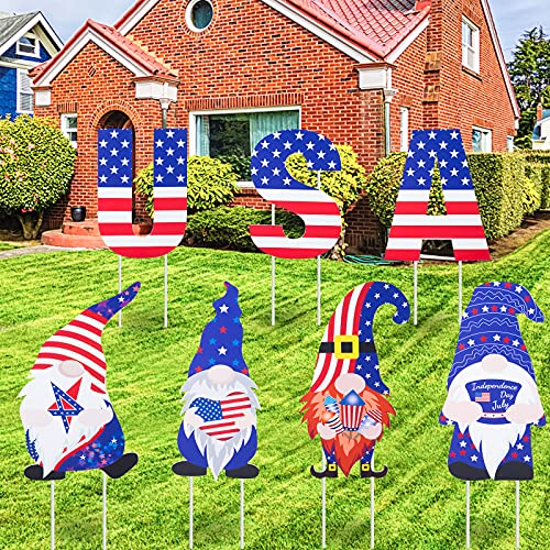 Geegoods 4th of July Yard Signs, Patriotic Gnomes Independence Day Memorial Day Decorations Outdoor Lawn Decorations, 7PCS Colorful & Weatherproof Letter Yard Signs with Stakes