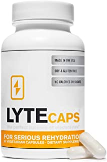 LyteCaps Electrolyte Replacement Tablets - 60 Vegetarian Capsules - for Serious Rehydration and Cramps, Dehydration - Magn...