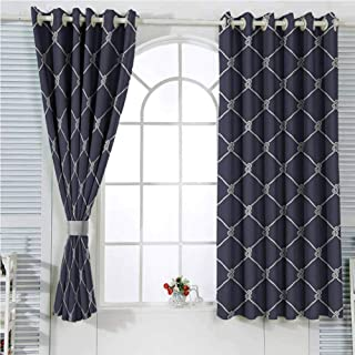 hengshu Navy Blue Decor Black Out Curtains for Bedroom Navy Sea Yacht Themed Cool Classic Design in Vertical Rope Artwork Home Decor Sliding Door Curtains W96 x L96 Inch Dark Blue and White