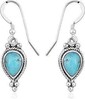 925 Sterling Silver Turquoise Dangle Drop Earrings for Women Southwest Jewelry 3.5/1.8 Cttw